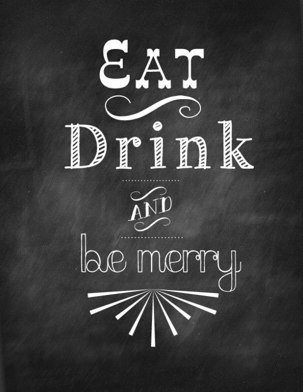 Get this FREE Christmas printable : eat drink and be merry printable. Great for simple Christmas decor!