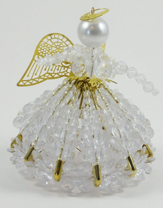 Clear Beaded Angel Christmas Ornament By