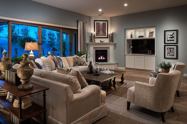 20+ Living Room Design Ideas With Corner Fireplace, Perfect Living Room Color Scheme with Glass Tile on Fireplace and Light Wood Floor