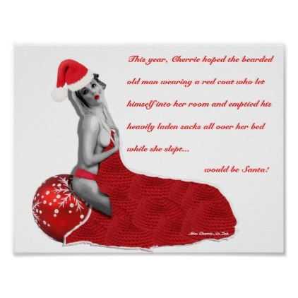 Rude Joke Sexy Santa Christmas Pinup Poster Print - red gifts color style cyo diy personalize unique