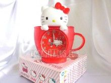 Jam Hello Kitty Bentuk Cangkir Warna Merah