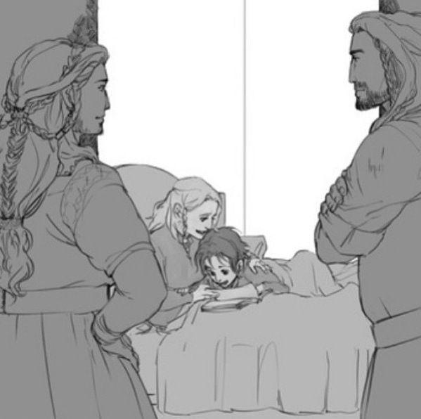 Dis and Thorin watching Fili and Kili