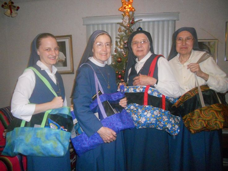 Sr. Clare Stephen made tote bags for her sisters in Miami.