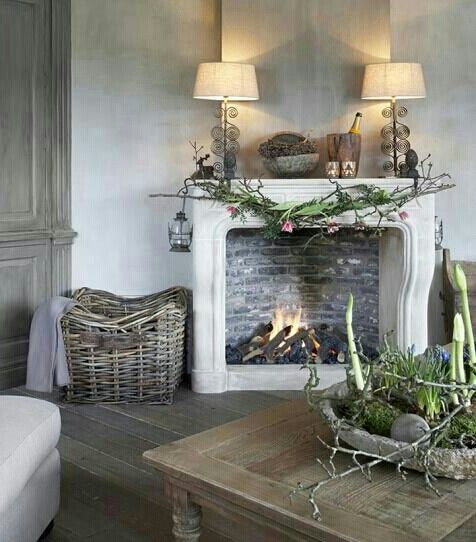 a charming and rustic room and fireplace