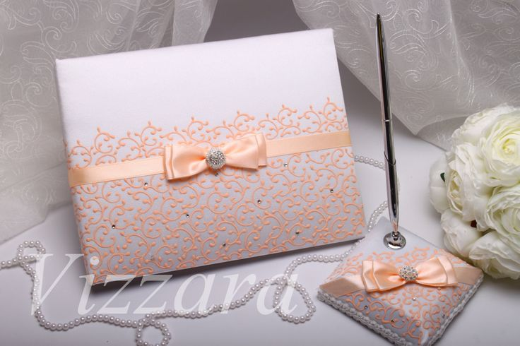 Custom Wedding Guest book peach A5 -HAND-Painted- Guest book for wedding Sign book peach Wedding pen Wedding gift personalization Handmade by VIZZARA on Etsy