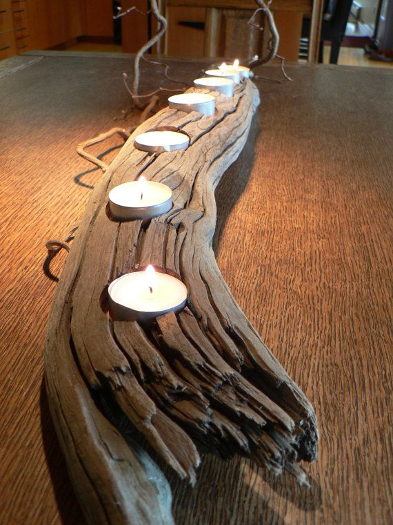 Driftwood, rustic candle holder, Rustic beach decor, Beach Chic, weddding gift idea, Cabin decor, Nature, fathers day gift idea