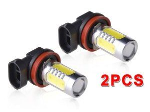 """2 Pieces Super Bright 21W H8 LED Car Fog Light Lamp Bulb White by Tech Era. $39.99. Features:          White 6000K         Total 7 pieces CREE Q5 LEDs per bulb         3 pieces 5W CREE LED bulbs on top         4 pieces 1.5W CREE LED bulbs on each side         Max capacity: 21W         Operate at: 10W         Size: 0.71"""" in diameter and 1.43"""" in length         Voltage: 12V         Lifespan: 20000 working hours  Package include : 2* H8 fog light bulbs"""