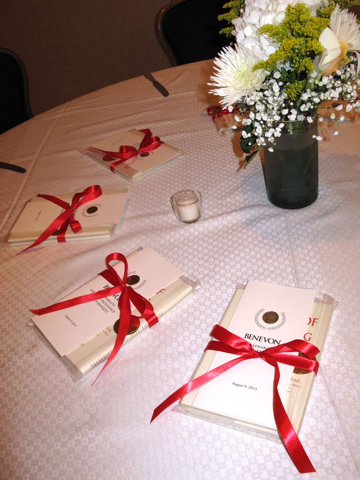 Awards banquet program and gift books for guests