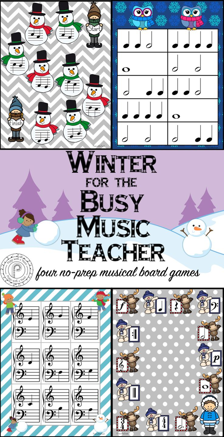 Winter Music Games: four no prep board games perfect for your beginning piano students!