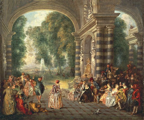 """Антуан Ватто, основоположник стиля рококо в живописи, называл свои картины изображениями """"галантных празднеств"""" (здесь – """"Удовольствия бала"""", 1717)."""