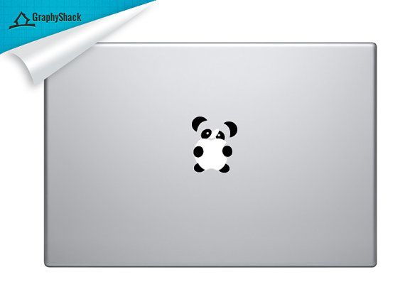 Cute Vinyl Panda Decal    Tailor made cute little gift for him and for her.    Fits every Mac (11 13 15 17)    Size:    *** Please specify decal color
