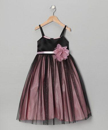 Look at this #zulilyfind! Black & Pink Flower Dress - Toddler & Girls #zulilyfinds