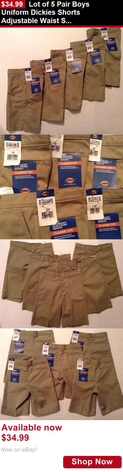 Boys uniforms: Lot Of 5 Pair Boys Uniform Dickies Shorts Adjustable Waist Size 12 Beige Nwt BUY IT NOW ONLY: $34.99