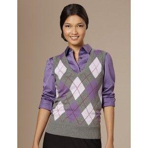 Ladies Argyle Sweater Vest Uk - Gray Cardigan Sweater