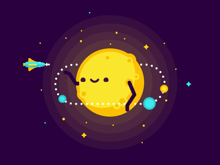 Need a Lift? | By PANIC [Illustration - Animated - Gif - Loop - Space - Solar System - Planets]
