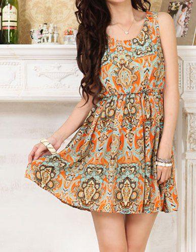 $8.89 Ethnic Totem Print Nipped Waist Sleeveless Scoop Neck Wide Hem Dress For Women