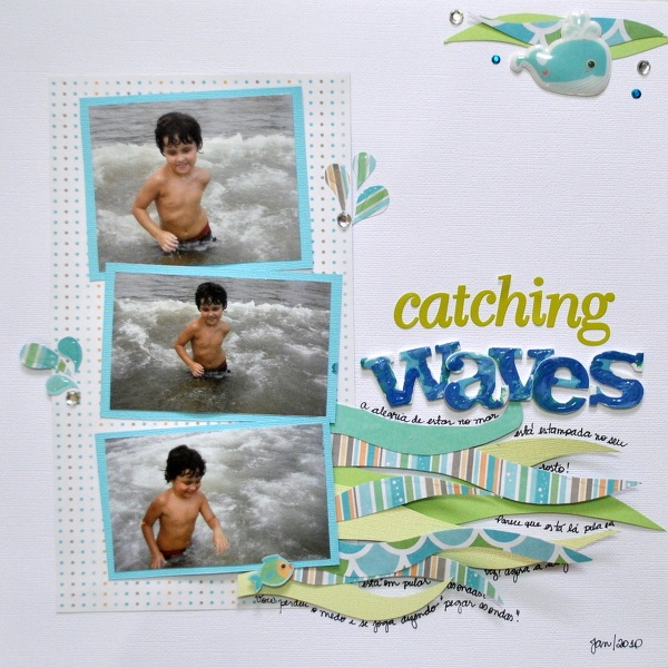 #papercrafting #scrapbook #layout - Beach scrapbook Layout catch the waves