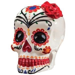 Ceramic Skull Cookie Jars Day Of The Dead Cookie Jars ( Día de Muertos) are colorful and have beautiful patterns on.