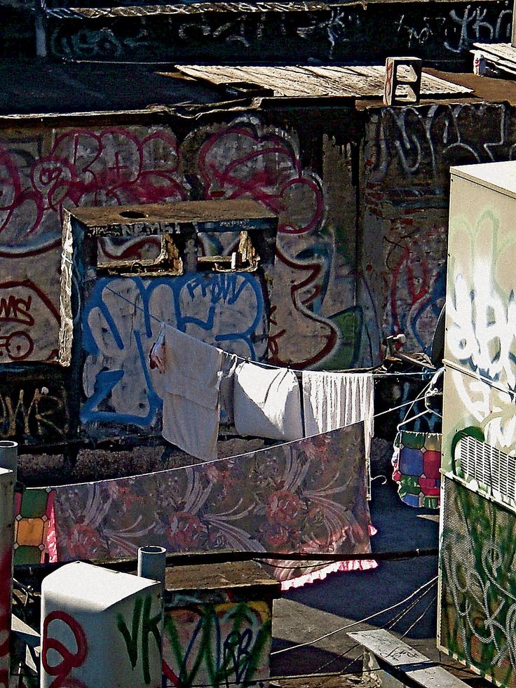 Laundry and graffiti on a rooftop in Chinatown, Manhattan.