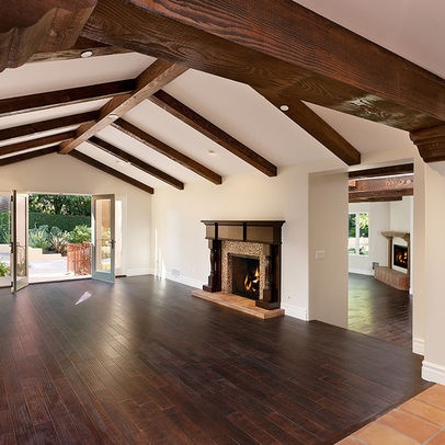 Beamed Ceiling Wood Floor Design Ideas, Pictures, Remodel, and Decor
