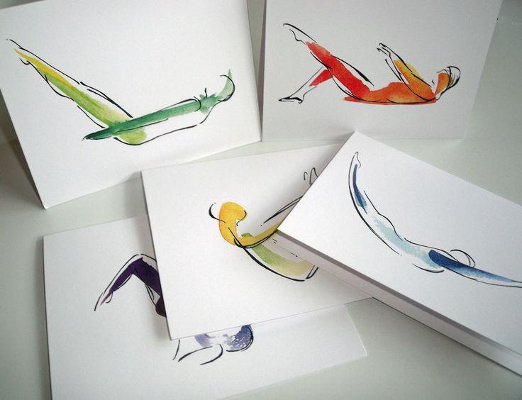 Pilates Poses- 5 Notecard Pack. $15.00, via Lindsay Satchell Designs on Etsy. https://www.etsy.com/listing/86108622/5-pilates-notecards?ref=v1_other_1