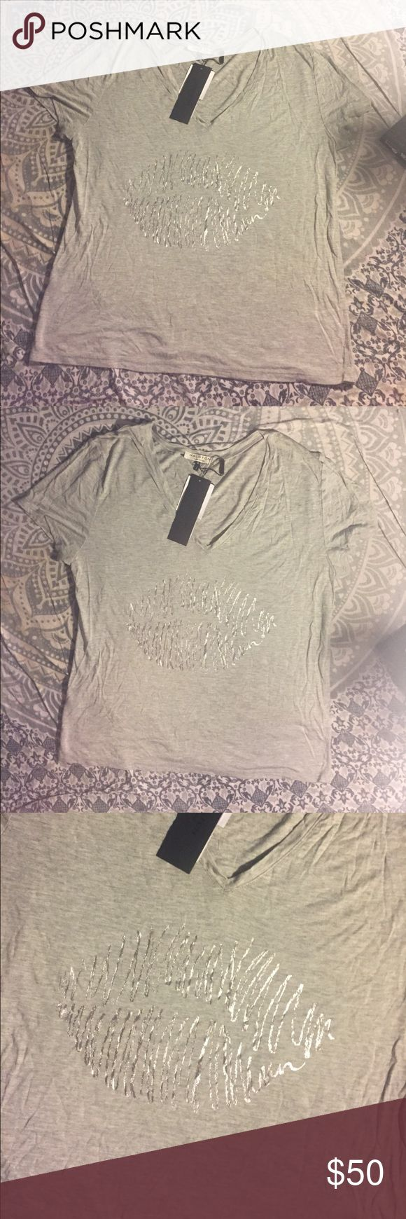Halston heritage gray v neck silver kiss lips tee New with tags halston heritage women's size medium short sleeve v neck tee with silver kiss lips on the front. Very chic. Smoke and pet free home. No trades. Open to offers Halston Heritage Tops Tees - Short Sleeve