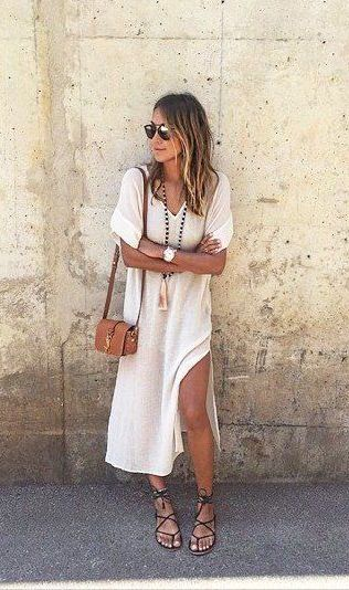 White tee dress and summer sandals
