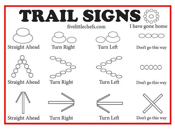 Going on a nature walk? Play a version of hide and seek with these trail signs. A fun game to play while camping, hiking with scouts or family.