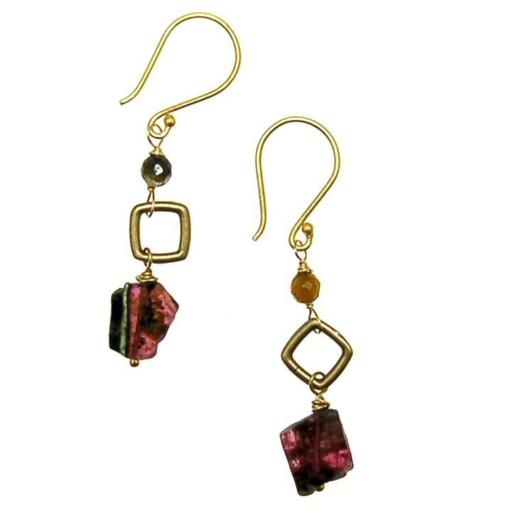 Tourmaline Slice Earrings (E1982R) $50