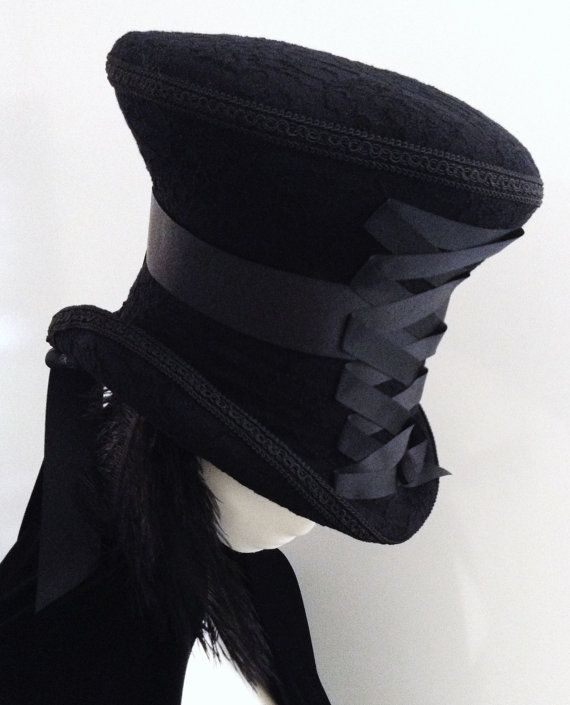 Hey, I found this really awesome Etsy listing at http://www.etsy.com/listing/163777971/black-mourning-mad-hatter-top-hat-lady
