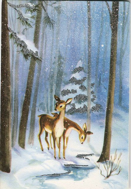 Vintage Greeting Card ~ 2 deer in snowy woods ~ public ...