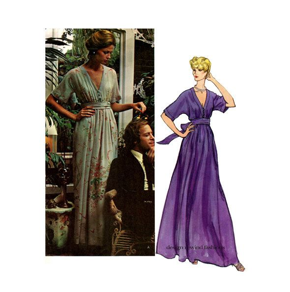 1970s VOGUE MAXI DRESS Pattern Deep V-Neck Evening Gown Boho Dress Nina Ricci Vogue 2886 Paris Original Bust 34 UNCuT Womens Sewing Patterns by DesignRewindFashions on Etsy