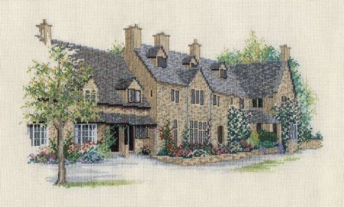 Derwentwater Village England Series Rose Tree Cottages Counted Cross Stitch Kit 14 count aida