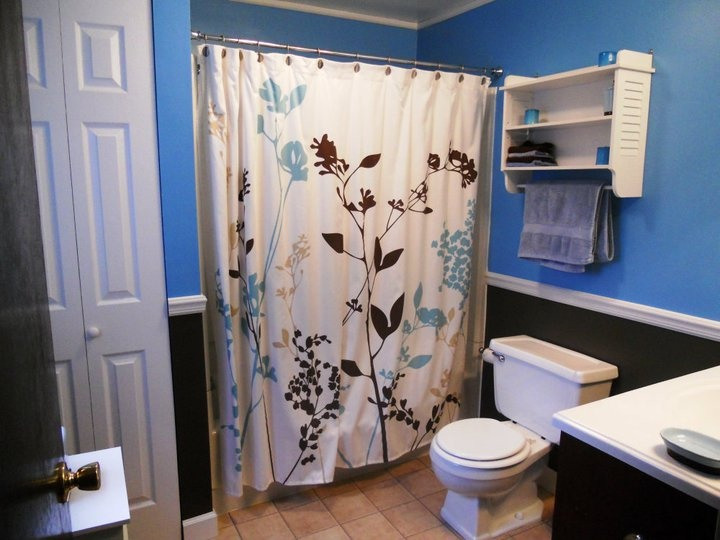 Image Gallery For Website Blue and Brown Bathroom Have the curtain already Love this