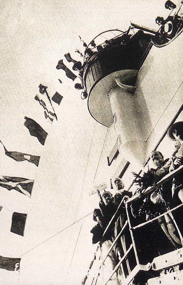 Salida del general Díaz del puerto de Veracruz a bordo del Ipiranga
