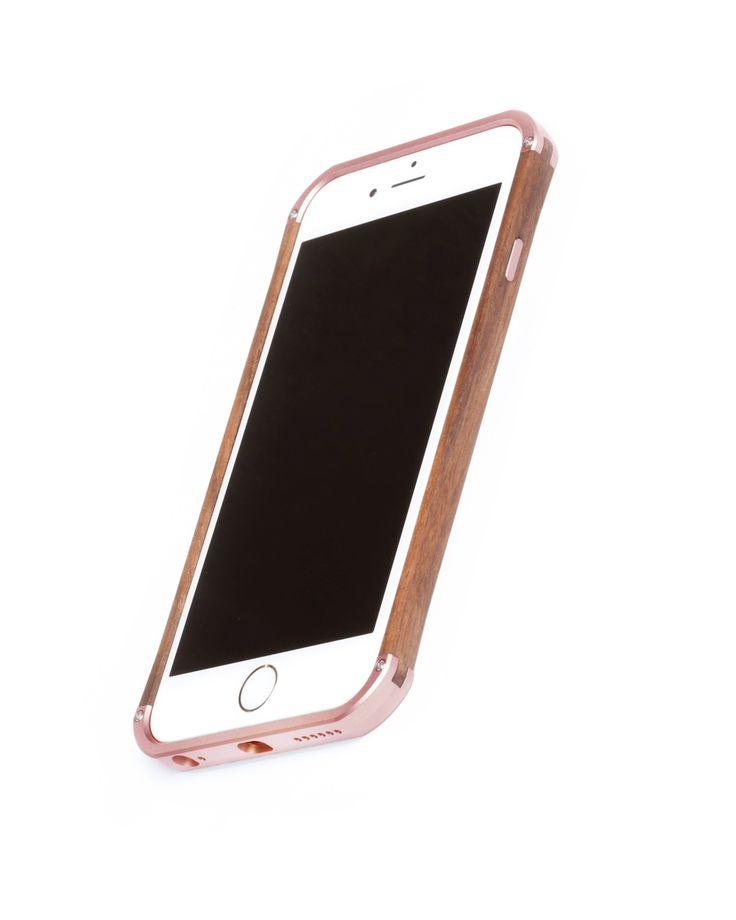 "Hand finished Wood & Aluminum iPhone case ""Frozen Rose Gold & Walnut"" combination :)"