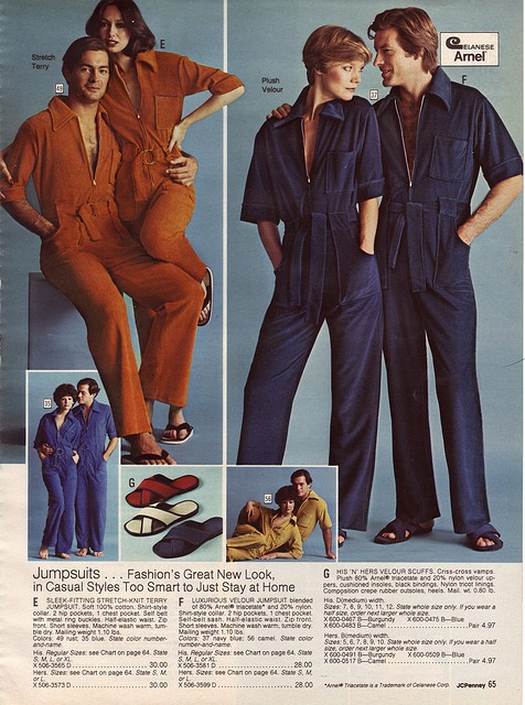 """Jumpsuits...""""too smart to just stay home in.""""  Where would you go dressed like this and not be publicly humiliated?"""