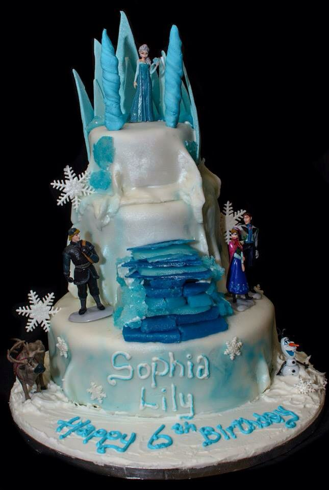 Frozen cake complete with hand made sugar crystals and shards