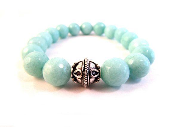 Mint Blue Bracelet Jade Stretch Bangle Pastel by EfZinCreations, $30.00