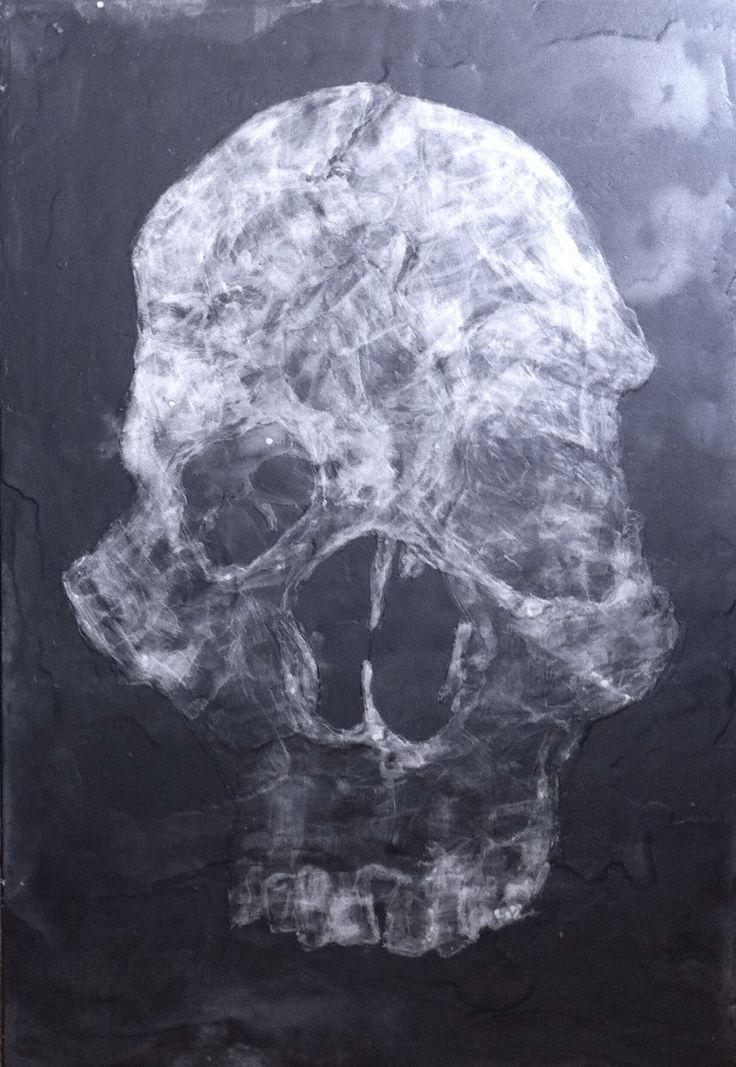 nos corps machine : dessin à la paraffine sur panneau bois fond noir réalisé pat Isabelle Bonté-Hessed2