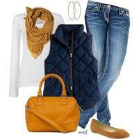 chaleco marino + bufanda y flats color mostaza