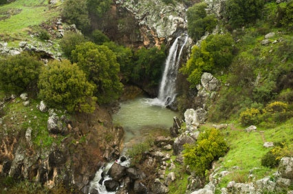 The beautiful Sa'ar falls on the Golan Heights -flowing with the winter rains.