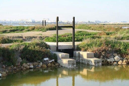 Compuerta de acceso de agua a las salinas, San Fernando, Cádiz.