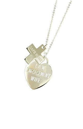 Solid Sterling Silver Law Enforcement Wife Police Gift Valentine Necklace SH. All Police Jewelry - Generous Silver Weight - Good Solid Feel. Police Wife Necklace - 18 Inch Sterling Silver Chain. All Law Enforcement Valentine Gifts - Teal Jewelry Pouch - Polishing Cloth. All Law Enforcement Jewelry - Solid Sterling Silver 3D Charms. All Police Valentine Gifts - Teal Designer Jewelry Gift Box.