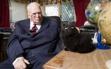 Sir Patrick Moore dies aged 89 - Telegraph (Patrick and Ptolemy his cat)