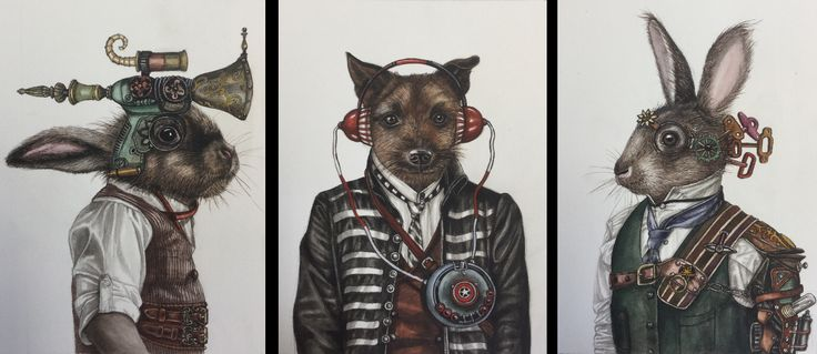 Angela Banks 2015. 'Son of a gun Sammy, peppy pumps his tune and Wind up Wally' 30x26cm each. Watercolor on paper