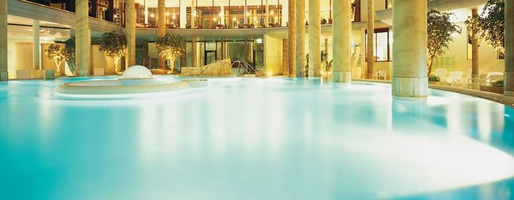 View of the columned bathing room at the Carolus Thermen baths   hot springs in Aachen, Germany