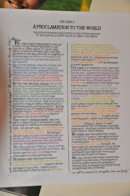 Color-coding the Proclamation with YW Values