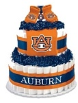 """Auburn Tigers Diaper Cake - The perfect baby shower gift for the collegiate sports fan! These creations are made from layers of diapers, stacked to look like a cake and filled with licensed collegiate baby products (or as we like to call them, """"ingredients""""). The standard diaper cake includes two layers of diapers (40-45), a team t-shirt, knit cap and booties.    Cakes may vary in color or """"ingredients"""" with available inventory."""