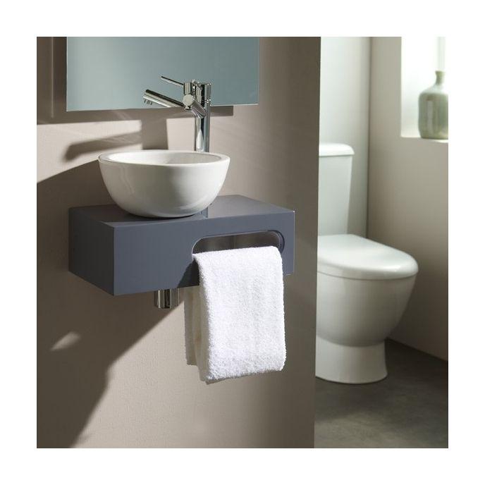 Lave-mains complet sur console couleur gris souris pour WC - - Salle de bain, WC